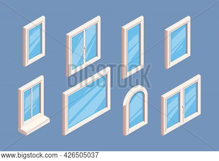 Window Isometric. Industrial Aluminium White Frames For Glasses Room Indoor Window Corners Garish Ve
