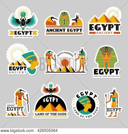Egypt Labels. Pyramid Sphinx Ancient Travel Symbols Statue In Desert Recent Vector Graphic Illustrat