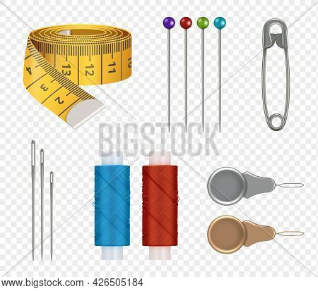 Sewing Realistic. Measure Tape Needles Colored Threads For Fashioned Clothes Production Fabric Texti