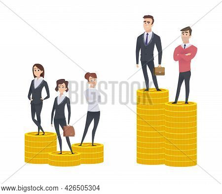 Gender Gap Inequality. Woman Man Salary Gaps. Difference Wage. Business People Stand On Golden Coin