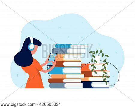 Online Library. Audio Books, Girl In Headphones Listen Book With Smartphone. Literature New Format,