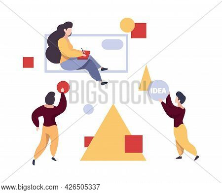 People Collect Geometrical Forms. Women Designer, Teamwork Leadership Vector Concept