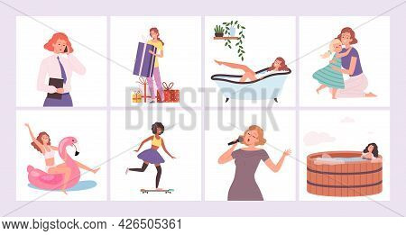 Women Activities. Female Hobby, Active Lifestyle. Different Girls Life Situations Vector Concept