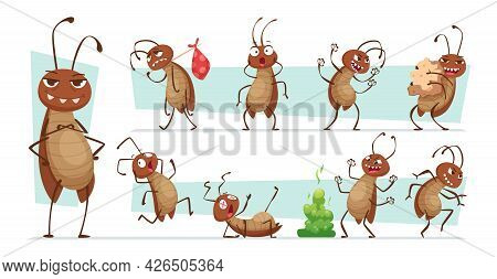 Dirt Cockroach. Bad Pests Interior Room Bugs Dirty Insects Hygiene Exact Vector Funny Characters Ill