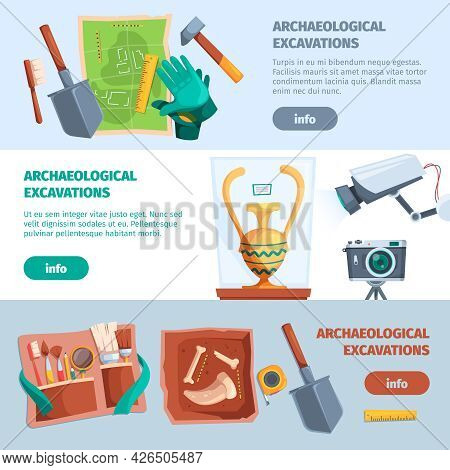 Archaeological Banners. Ancient Tools For History Adventure Education Excavations Finding Various Ar