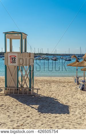 Colonia De Sant Jordi, Spain; July 02 2021: Beach Watchtower In The Mallorcan Beach Of Colonia De Sa