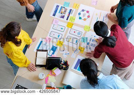 Brainstorm Planing Creative Asian Teamwork, Group Of Asia Mobile Phone App Developer Team Meeting Fo