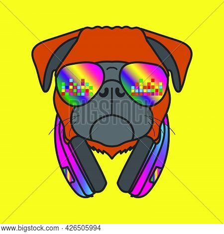 Mascot Cartoon Dog Character With Glasses And Earphones Listening To Music
