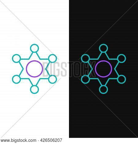 Line Hexagram Sheriff Icon Isolated On White And Black Background. Police Badge Icon. Colorful Outli