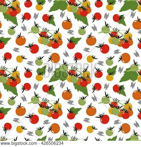 Assorted Vegetables Seamless Pattern, Tomatoes Red And Yellow, Illustration. Vegetable Print