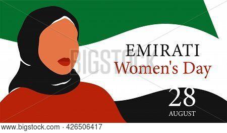 Emirati Women's Day Greeting Card With Young Arab Woman Wearing Black Hijab. Muslim Girl Stands Agai