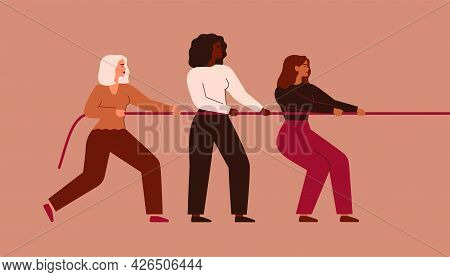 Strong Women Tug Of War. Girls Support Each Other And Pull The Rope Together. Teamwork And Female's