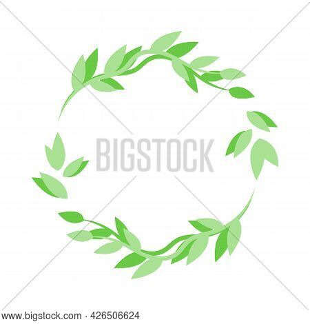 Vector Flat Leafy Ornament, Green Round Frame Design Template From Leaves. Can Be Used For Highlight