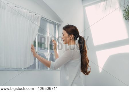 Woman Feeling Happy Fresh And Smile Relax