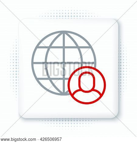 Line Freelancer Icon Isolated On White Background. Freelancer Man Working On Laptop At His House. On