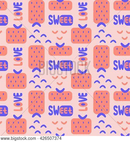 Abstract Minimal Memphis Style Seamless Pattern With Geometric Shape Strawberry, Blue Arcs, Sweet An