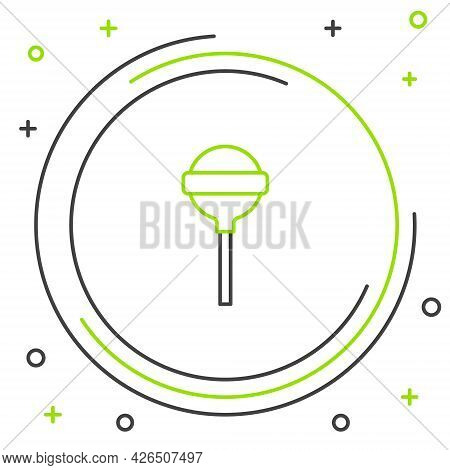 Line Lollipop Icon Isolated On White Background. Food, Delicious Symbol. Colorful Outline Concept. V