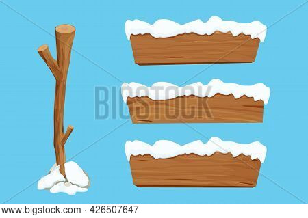 Wood Sign, Set Tree Stick And Wooden Empty Planks With Snow In Cartoon Style Isolated On White Backg