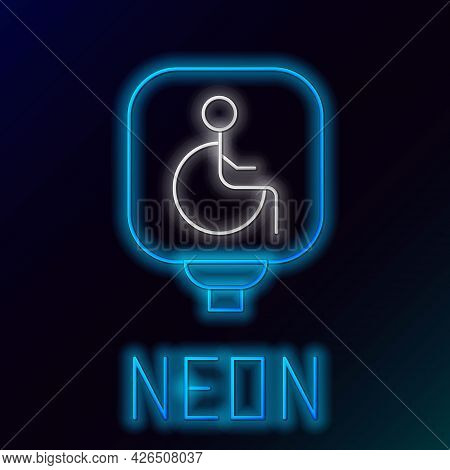 Glowing Neon Line Disabled Wheelchair Icon Isolated On Black Background. Disabled Handicap Sign. Col