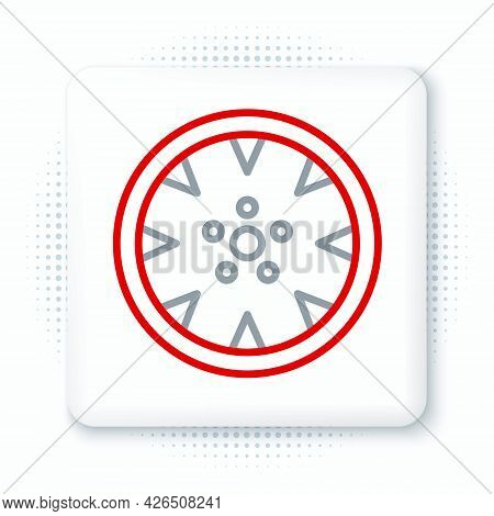 Line Alloy Wheel For A Car Icon Isolated On White Background. Colorful Outline Concept. Vector