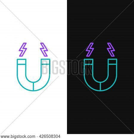 Line Magnet Icon Isolated On White And Black Background. Horseshoe Magnet, Magnetism, Magnetize, Att
