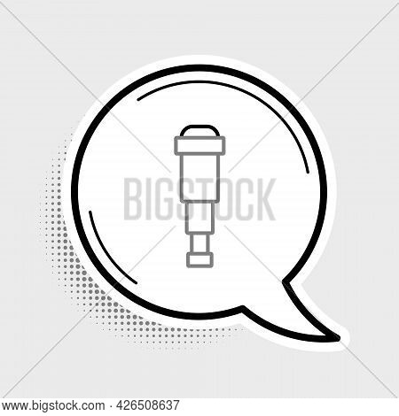 Line Spyglass Telescope Lens Icon Isolated On Grey Background. Sailor Spyglass. Colorful Outline Con
