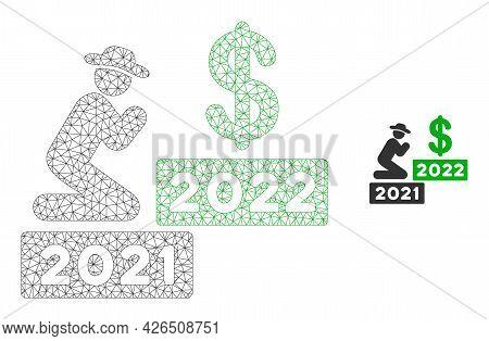 Mesh Gentleman Pray Dollar 2022 Model Icon. Wire Frame Polygonal Mesh Of Vector Gentleman Pray Dolla