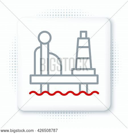 Line Oil Platform In The Sea Icon Isolated On White Background. Drilling Rig At Sea. Oil Platform, G