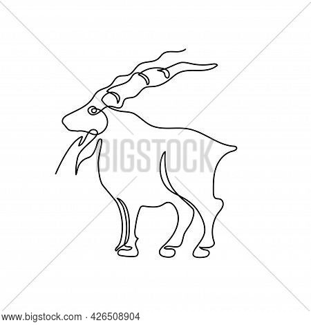 The Goat Is Drawn With One Line. Chinese Zodiac Sign Of The Year Of The Goat.