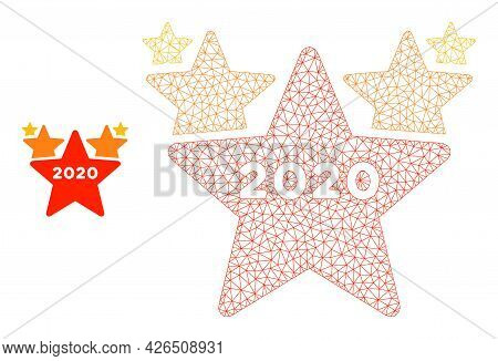 Mesh 2020 Stars Hit Parade Model Icon. Wire Frame Polygonal Mesh Of Vector 2020 Stars Hit Parade Iso