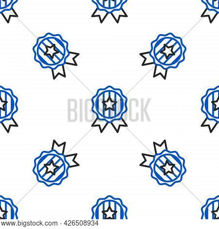 Line Medal With Star Icon Isolated Seamless Pattern On White Background. Winner Achievement Sign. Aw