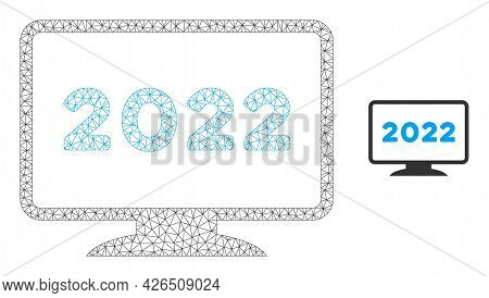 Mesh 2022 Display Model Icon. Wire Carcass Polygonal Mesh Of Vector 2022 Display Isolated On A White