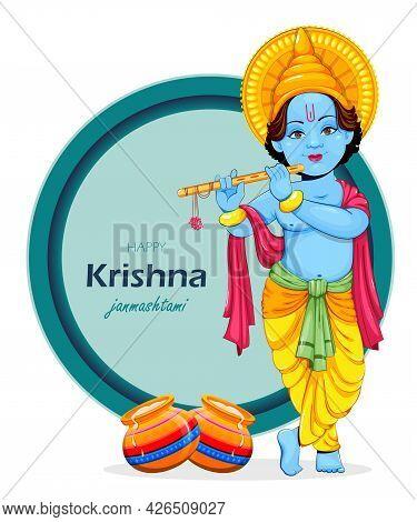 Happy Krishna Janmashtami Greeting Card. Lord Krishna Paying Flute. Stock Vector Illustration On Abs