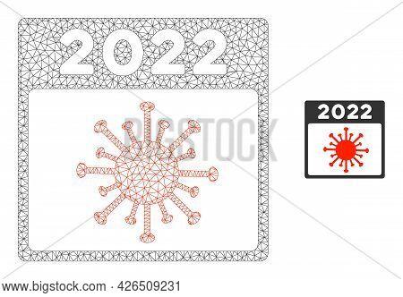 Mesh 2022 Covid Calendar Page Model Icon. Wire Frame Triangular Mesh Of Vector 2022 Covid Calendar P