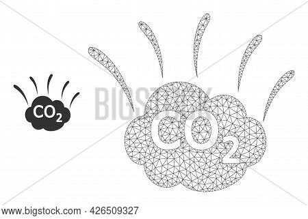 Mesh Co2 Emission Cloud Model Icon. Wire Carcass Polygonal Mesh Of Vector Co2 Emission Cloud Isolate
