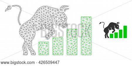 Mesh Bullish Market Chart Model Icon. Wire Frame Triangular Mesh Of Vector Bullish Market Chart Isol