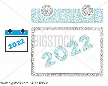 Mesh 2022 Calendar Model Icon. Wire Frame Polygonal Mesh Of Vector 2022 Calendar Isolated On A White