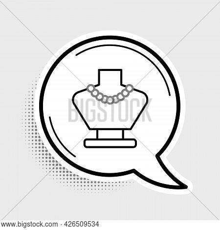 Line Necklace On Mannequin Icon Isolated On Grey Background. Colorful Outline Concept. Vector