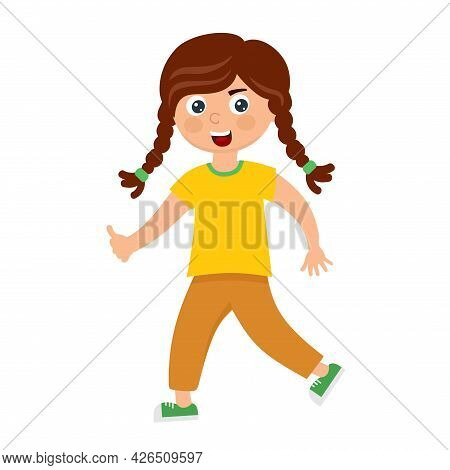 A Funny Girl With Pigtails In A Cartoon Style.
