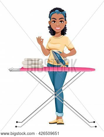 Pretty African American Housewife Ironing. Cute Lady Cartoon Character Doing Domestic Work. Stock Ve