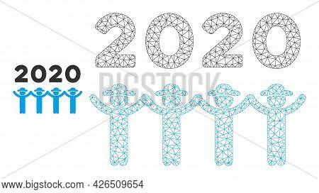 Mesh 2020 Gentlemen Dance Model Icon. Wire Carcass Polygonal Mesh Of Vector 2020 Gentlemen Dance Iso