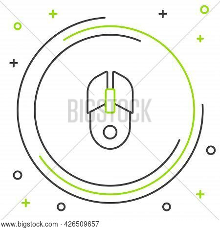 Line Computer Mouse Icon Isolated On White Background. Optical With Wheel Symbol. Colorful Outline C