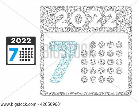 Mesh 2022 Year 7th Day Model Icon. Wire Carcass Polygonal Mesh Of Vector 2022 Year 7th Day Isolated