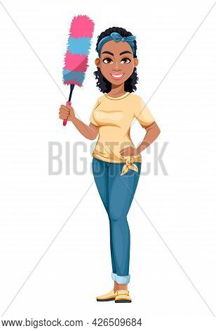 Pretty African American Housewife Holding Dust Brush. Cute Lady Cartoon Character Doing Domestic Wor