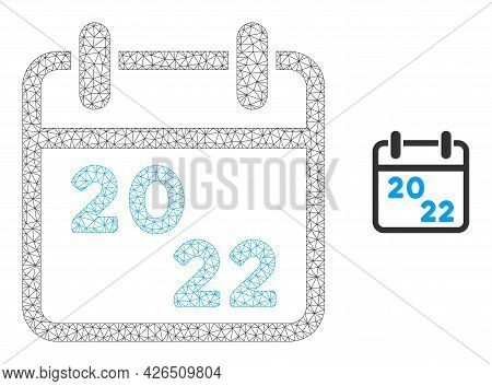 Mesh 2022 Calendar Model Icon. Wire Carcass Polygonal Mesh Of Vector 2022 Calendar Isolated On A Whi