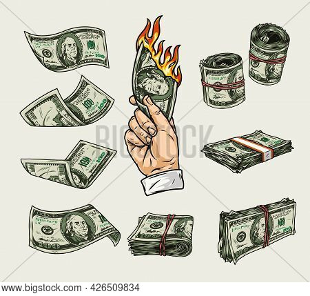 Money Colorful Vintage Elements Set With Male Hand Holding Burning Dollar Bill Falling American Cash