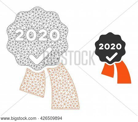Mesh 2020 Approve Award Model Icon. Wire Frame Polygonal Mesh Of Vector 2020 Approve Award Isolated