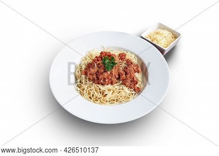 White Plate With Spaghetti Bolognaise And Cheese Isolated