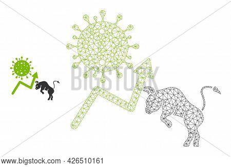 Mesh Bull Covid Market Model Icon. Wire Carcass Polygonal Mesh Of Vector Bull Covid Market Isolated