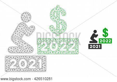 Mesh Man Pray Dollar 2022 Model Icon. Wire Frame Triangular Network Of Vector Man Pray Dollar 2022 I